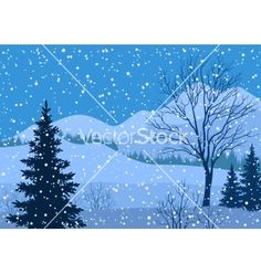 Winter mountain landscape with fir trees vector 3341025 - by oksanaok on VectorStock®