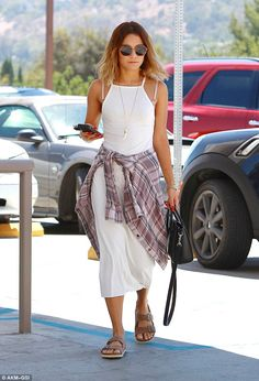 Familiar territory: Vanessa Hudgens stuck to a tried and tested style as she stepped out t...