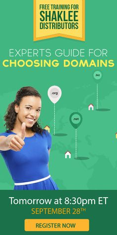 Join us in our upcoming new free webinar, and you'll learn:  - Why get a domain name  - The type of name to start  - Our formula for a perfect domain  - Best practices for getting a domain for your Shaklee business  - What domain extensions are and why they matter  - Plus more…  Register here: