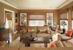 asiatisch dekoriertes WOhnzimmer in Beige und ROt