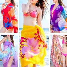 Women Sexy Dress Beach Bikini Chiffon Pareo Wrap Sarong Swimwear Cover Up Scarf #Unbranded #CoverUp