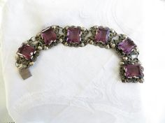 Amethyst Sterling Bracelet Mexico Emerald by VintageVogueTreasure