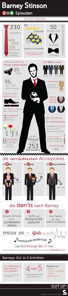Barney Stinson in 208 Folgen HIMYM – eine Stilübersicht #infografik #mode #suitup