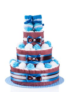 How to make a Diaper Cake {Video Tutorial} Baby Shower Crafts, Baby Shower Parties, Baby Boy Shower, Baby Showers, Shower Gifts, Diaper Cakes Tutorial, Diaper Cake Instructions, Cake Tutorial, Twin Diaper Cake