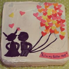 Romantic Cakes - White Icing Cake with Couple Kissing and Heart Balloons | All Things Yummy  #anniversarycake #heartballoons #silhoutte #secondanniversary #whippedcream #atyummy #hearts #boy #girl #boygirl #love #designercake #customisedcake