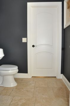My Favorite Benjamin Moore Paint Colors - Evolution of Style Dark Gray Bathroom, Dark Grey Rooms, Dark Grey Walls, Dark Grey Color, Grey Bathrooms, Small Bathroom, Bathroom Ideas, Neutral Bathroom, Dark Grey Houses
