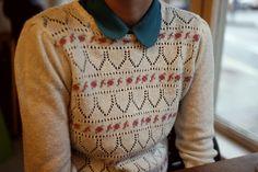 little collar, jumper, knit, pattern, colour, style, autumn fashion, pretty, cute
