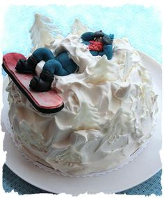 I'm not a big cake person, but how fun is this? - I'm not a big cake person, . Big Cakes, Fancy Cakes, Cakes For Men, Cakes And More, Snowboard Cake, Theme Sport, Occasion Cakes, Cake Tutorial, Celebration Cakes