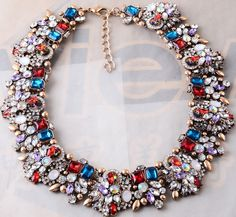 New Design women Bib Statement rainbow mixed crystal gorgeous necklace collar  #new #necklace