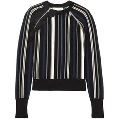 3.1 Phillip Lim Ruffle-trimmed striped stretch cotton-blend sweater (1,580 SAR) ❤ liked on Polyvore featuring tops, sweaters, black, ruffle top, asymmetrical zip sweater, multi colored sweater, asymmetrical zipper sweater and asymmetrical sweaters