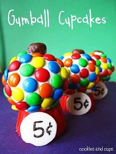 Gumball Cupcakes - oh this would be a big hit with the kiddos!