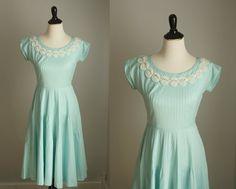 1950s dress   vintage 50s aqua cotton dress