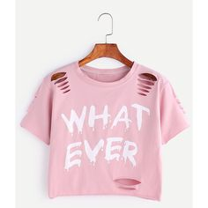 SheIn(sheinside) Letter Print Ripped Crop T-shirt (30.585 COP) ❤ liked on Polyvore featuring tops, t-shirts, pink, ripped t shirt, graphic t shirts, pink crop top, short sleeve crop top and distressed tee