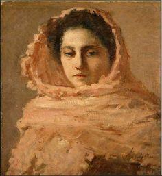 Donna con scialle rosa - SILVESTRO LEGA