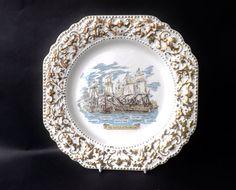 Lord Nelson The Battle Of Trafalgar Plate, Nautical Sailing Gift, HMS Victory, English Big Ships Sailing Galleons, Fighting Ships Sea Battle