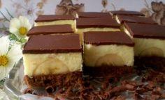 Jednoduché rezy plné vanilkového krému a banánov pripravíte skoro bez práce :). Základom je vrstva nadýchaného kakaového piškótu, ktorú pokrývajú banány a poctivá vrstva pudingového krému. Vršok zdobí poleva z čokolády.  Čas prípravy: 1 h + čas na chladenie Porcie: 10 – 12 ingrediencie korpus 5 vajec 5 lyžíc cukru 1 balenie vanilkového cukru nebo lyžička vanilkového extraktu 100