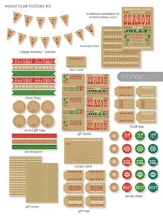 Christmas printables with a brown craft paper background.  Would be cute for a country Christmas.