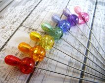 7 Dazzeling Rainbow Crackle Glass Beaded Handmade Decorative 2 inch Stick Pins - Sewing Pins - Scrapbook Cardmaking Embellishment Pins