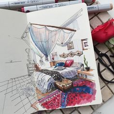 Sketch interior markers sketchbook by artvalerim