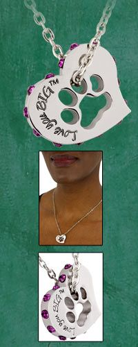 Love You Big Crystal Heart & Paw Print Necklace at The Animal Rescue Site