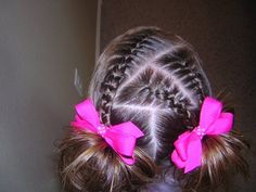 Triple French Braids & Piggies Hairstyles For Girls - Princess Hairstyles: Triple French Braids & Pi Lil Girl Hairstyles, Princess Hairstyles, Braided Hairstyles, Hairdos, Sweet Hairstyles, Kids Hairstyle, Hairstyles Videos, Prom Hairstyles, Girl Hair Dos