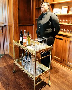 Wine cart service in the study at Black Iris Estate in Carmel Indiana