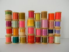 32 colorful vintage wooden spools of sewing thread by MonkiVintage