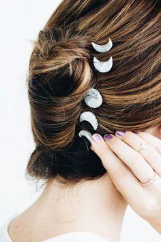 DIY moon phase hairpin set to make hair accessories DIY Marble Moon Phase Hair Accessories – Makeful Diy Marble, Diy Hairstyles, Wedding Hairstyles, Bridal Hairstyle, Bobby Pin Hairstyles, Toddler Hairstyles, School Hairstyles, Updo Hairstyle, Wedding Updo