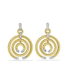 Willow Medium Round Drop Earrings with Diamonds in Gold