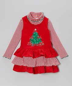 Vibrant and full of festive flair, this holly jolly set will brighten any day. The top's stripes and turtleneck collar complement the jumper's sturdy corduroy construction, topped off with rows of ruffles and a darling appliqué.