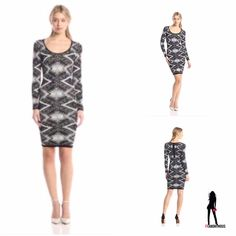 "Black & Ivory Jacquard Print Bodycon Dress L New with tag. Plenty by Tracy Reece black and ivory jacquard textured, printed bodycon long sleeve dress. Scoop neck. Length on S is 38.5"". Back zip. Viscose/nylon blend. Size L. Available in S and M in separate listings. Plenty by Tracy Reese Dresses Long Sleeve"