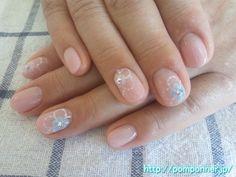 ピンクベージュとパステルカラーのお花ネイル (flower pastel pink and beige)