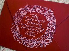 I Love, Love, Love This!!!   Custom Return Address Stamp // WREATH // hand by Primele on Etsy