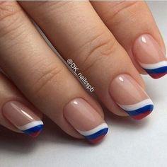 May 2019 - french nails design Short Flag Nails, Patriotic Nails, Fingernail Designs, Nail Art Designs, Nails Design, French Nails, French Manicures, Pretty Nail Art, Hot Nails