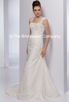 This is a beautiful one piece wedding dress that has been crafted as a one shoulder trumpet style dress. It comes complete with gathered body and beaded embellishments. Zip closure and draped cathedral train. If you want a wedding dress that has grace - this is it.