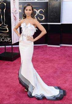 #Oscars2013 Zoe Saldana in Alexis Maybille