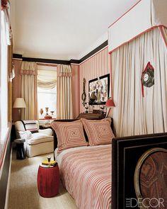 Design by Alessandra Branca, ELLE Decor - great furniture placement for a narrow room. Long Narrow Bedroom, Narrow Rooms, Bedroom Small, Beautiful Bedrooms, Beautiful Interiors, Home Bedroom, Bedroom Decor, Bedroom Pics, Fancy Bedroom