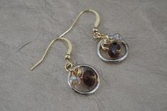 Faceted Wire Wrapped Amber Brown and Light Yellow Crystal Rondelle Earrings by ForestBeads, $19.99