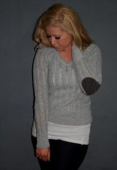 Grey Jumper with elbow patches