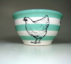 medium bowl chicken striped blue green/natural by CircaCeramics Chicken Stripes, Coloured Feathers, Rooster Decor, Beautiful Farm, Chickens And Roosters, My Favorite Color, Blue Stripes, Decorative Items, Blue Green