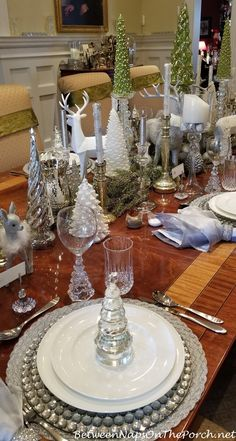 Bejeweled Silver Chargers, Silver Placemats