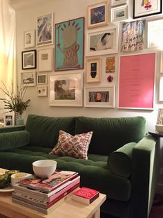 #gallery wall and #article green velvet Sven sofa. #brooklyn #dumbo #studioapt