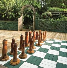 Chess board painted on wood patio deck