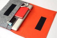 "15"" inch Apple Macbook Pro laptop Organizer Case Cover - Gray & Orange - Weird.Old.Snail on Etsy, $53.00"
