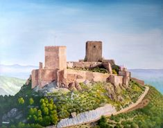 Lorca Castle in Murcia, Spain, with the century cables and tarmac removed by Julia Underwood and Jewells Art. Castle Painting, Positive Images, Landscape Art, Monument Valley, Murcia Spain, Vibrant Colors, My Arts, Wall Art, Artist