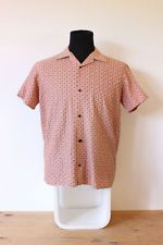 Mens VINTAGE Shirt button up pink pattern print FESTIVE indie hipster trendy