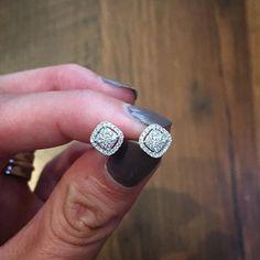 The perfect pair of diamond studs, 58 small diamonds weighing in at .39 carats. #diamonds #studs #cushioncut #halo #scottandco #scottandcojewelers #diamondstudearrings