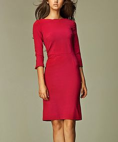Another great find on #zulily! Maroon Scalloped Boatneck Dress #zulilyfinds