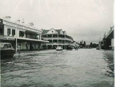 1955 flood showing Byron St,Inverell in New South Wales looking south.