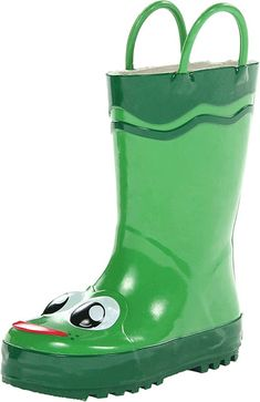 The Western Chief Kids Frog Rain Boot is a waterproof rubber upper with a moisture absorbent lining.  The treaded outsole is designed to keep him steady on this feet while the reinforced pull handles allows for easy on & off removal of rain boots. #RaincoatsForWomenGreen